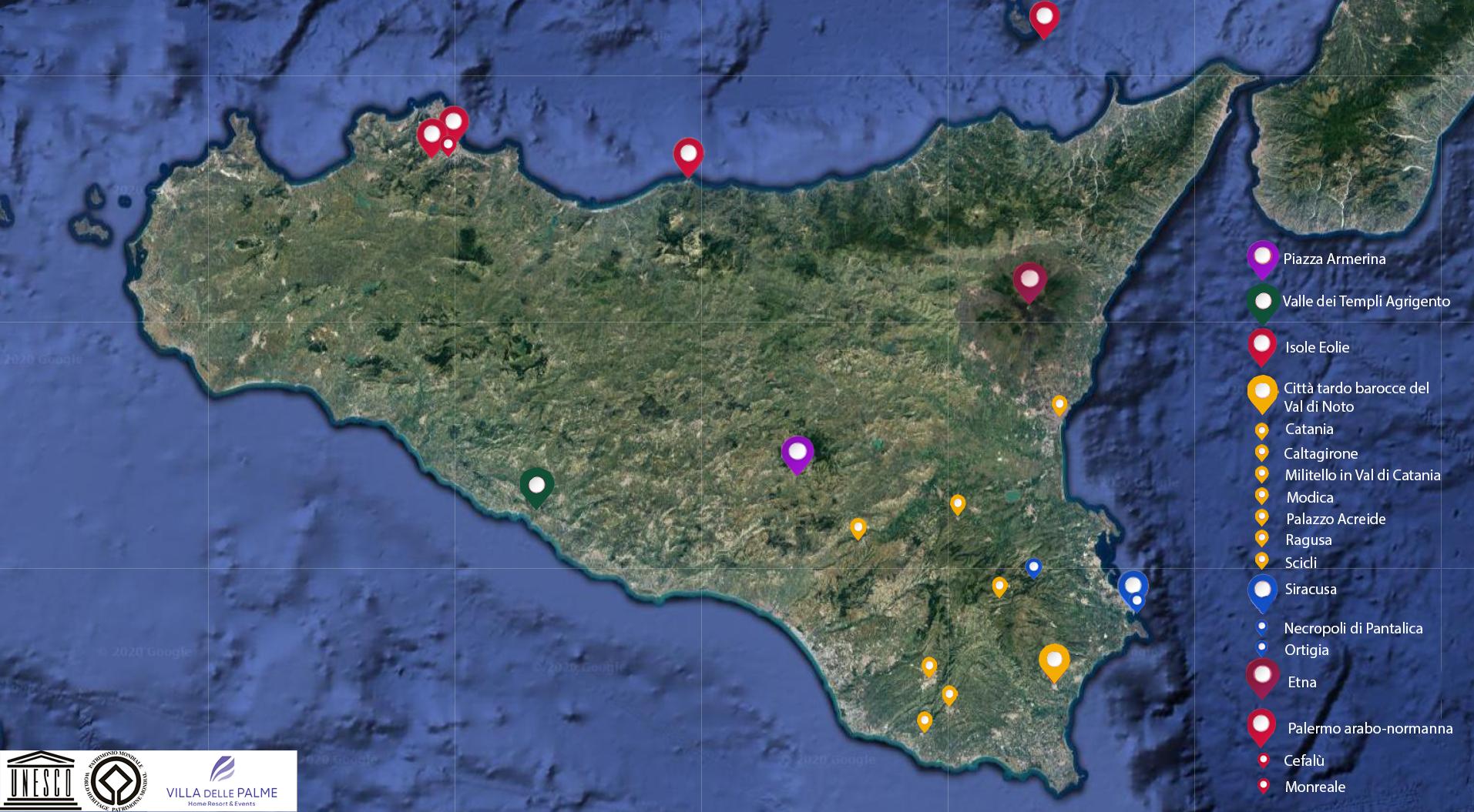 Cartina Della Sicilia Con Le Isole.Ecco I 7 Siti Unesco In Sicilia Quello Che Non Sapevi Sui Patrimoni Dell Umanita Villa Delle Palme